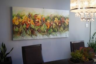 Fleurs de Canna Cléopatra 30x60'' encre acrylique et mortier de structure sur toile galerie, Prix 1200$ Disponible à l'atelier sur rendez vous seulement.
