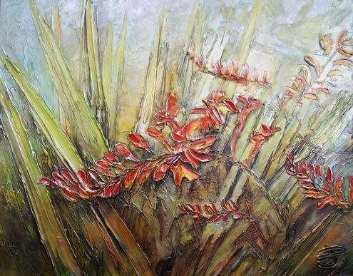Crocosmia 30-07, 22x28'', 500$, JoséePerreault artiste Joliette Qc.